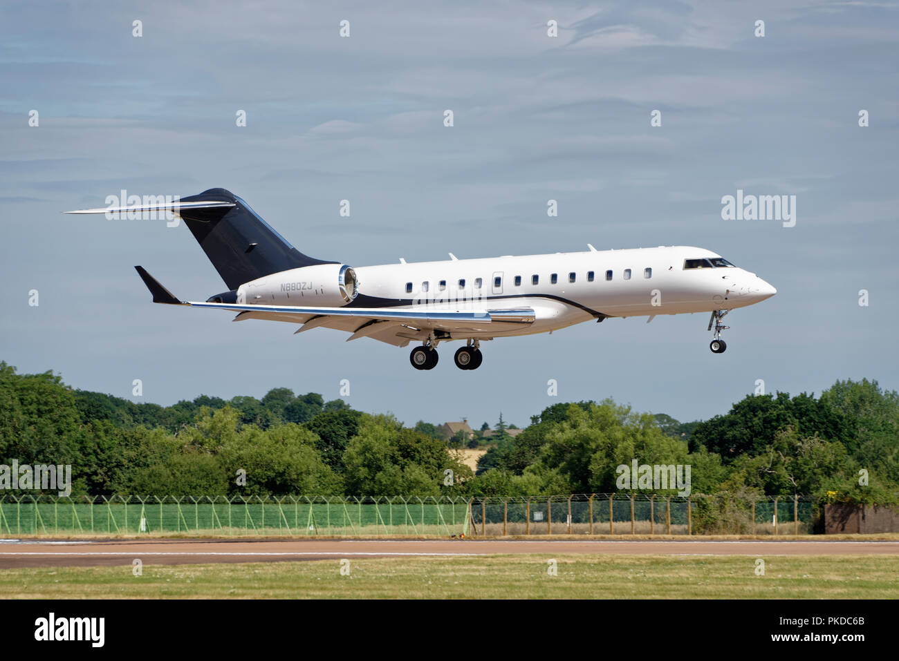 Bombardier BD-700 Global Express Business Jet arrives at RAF Fairford in the English Cotswolds to participate in the RIAT Air Show - Stock Image