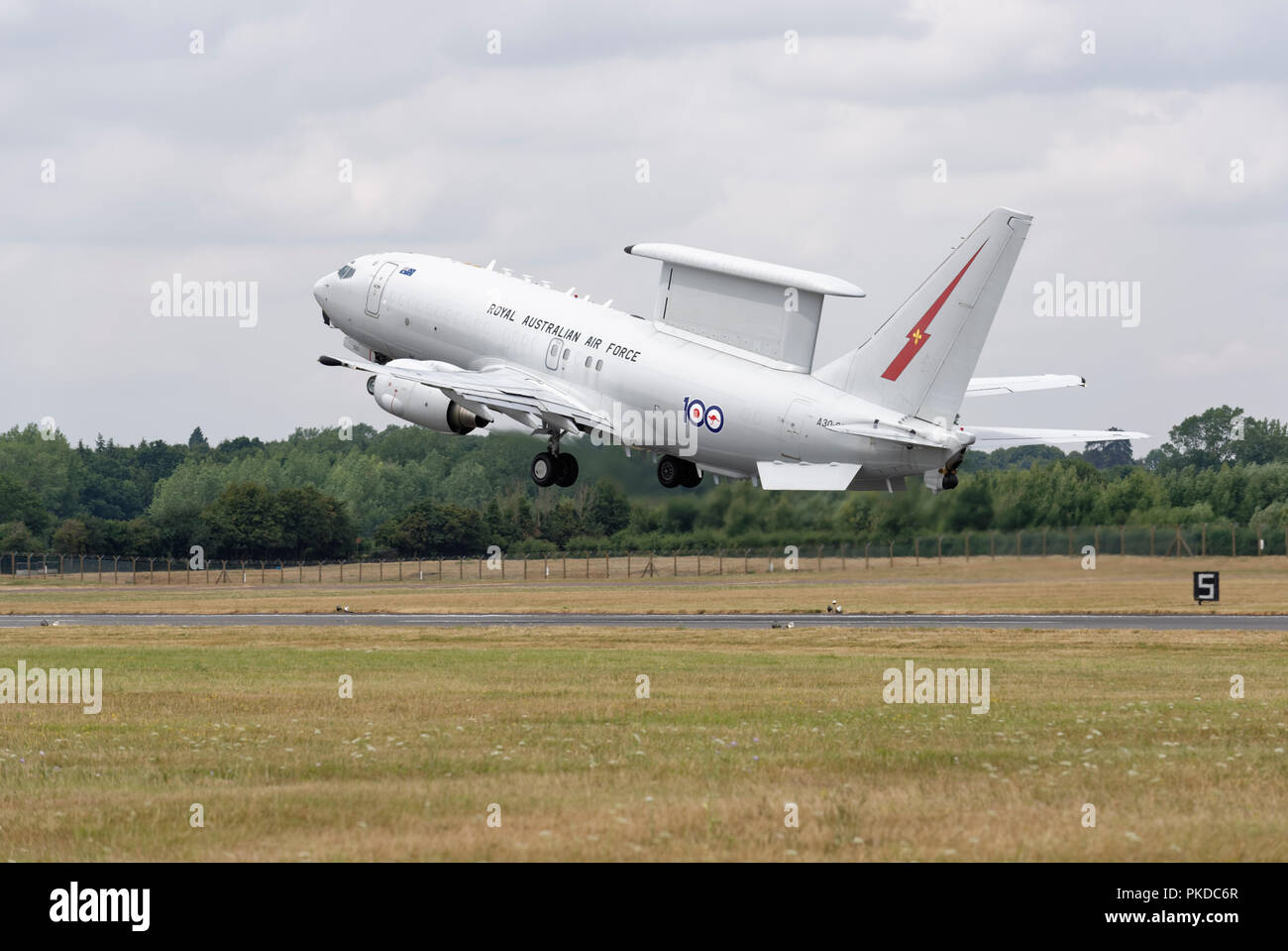 Royal Australian Air Force Boeing 737 Wedgetail Airborne Early Warning Aircraft takes off from RAF Fairford after the RIAT - Stock Image