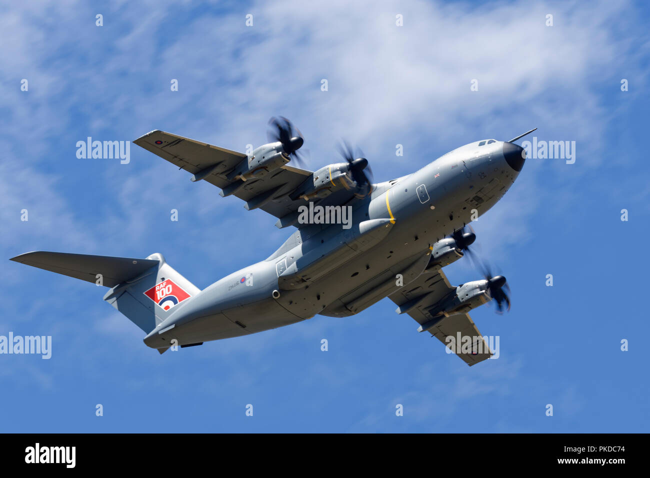 British Royal Air Force Airbus A400M Atlas Tactical Airlifter arrives overhead RAF Fairford to participate in the Royal International Air Tattoo - Stock Image