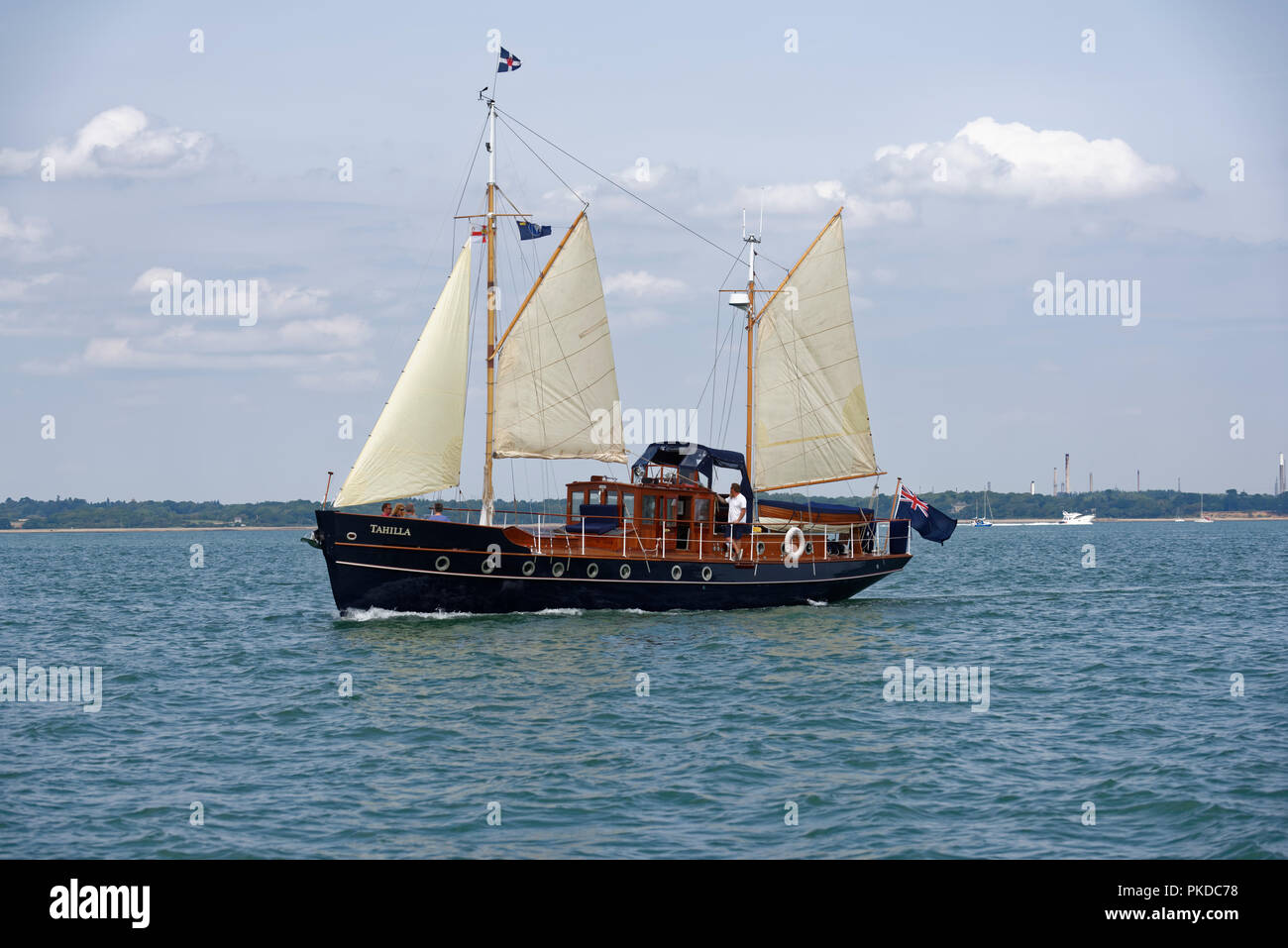 Historic sailing ketch Tahilla (formely Skylark) cruising on the Solent during the Cowes Week regatta. - Stock Image