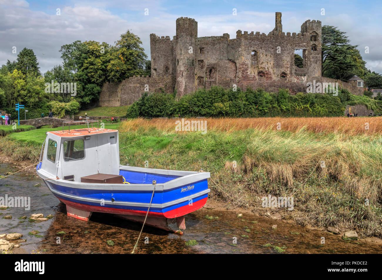 Laugharne Castle, Carmarthenshire, Wales, UK, Europe - Stock Image