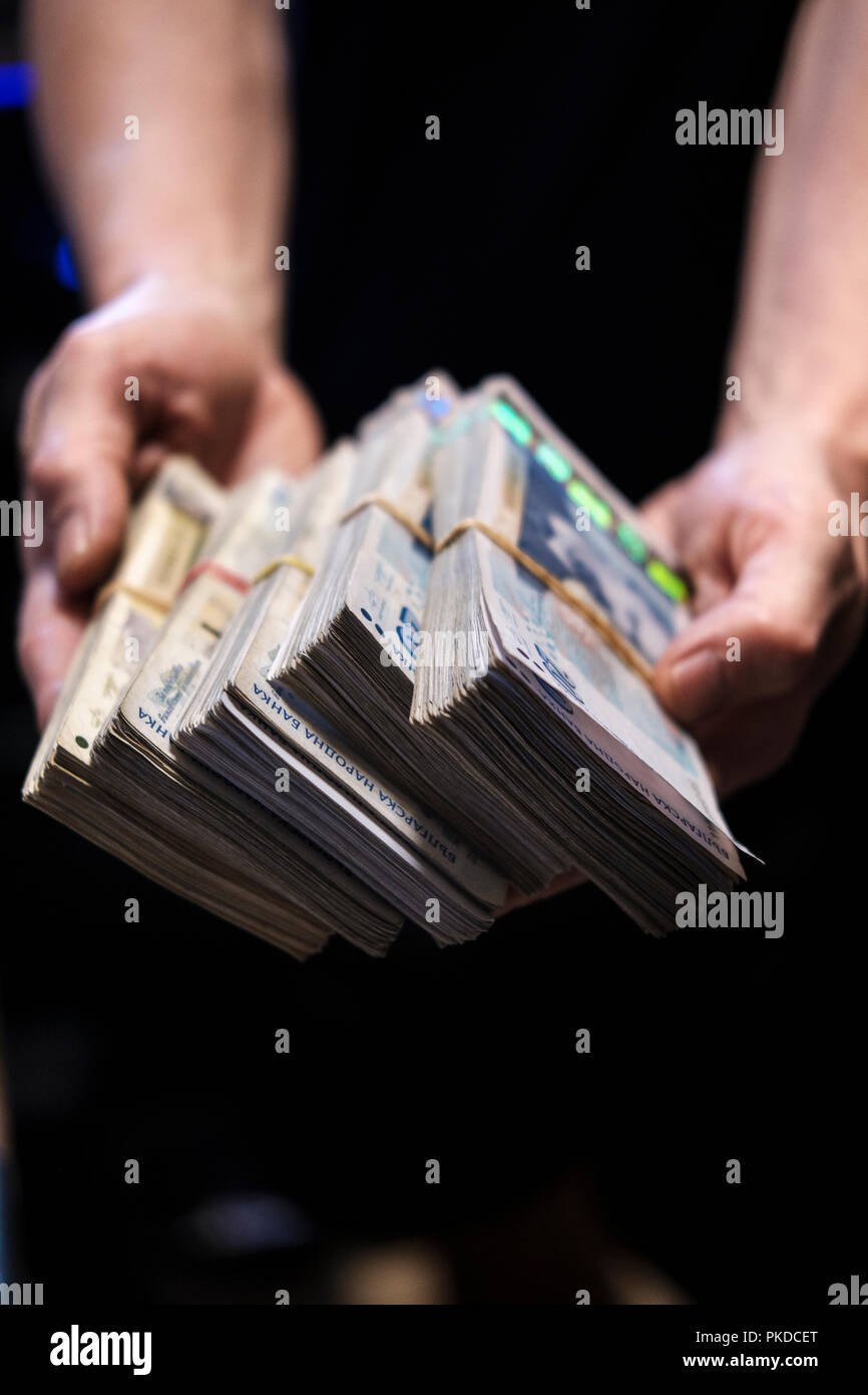 Corruption concept-dirty money,money hand-out,Bulgarian lev,Bulgarian currency - Stock Image
