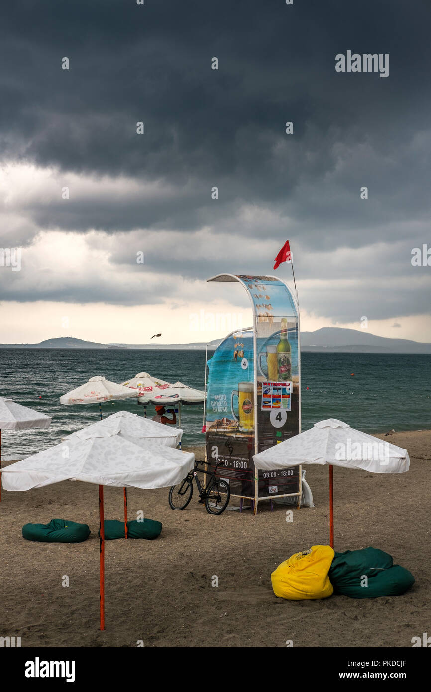 Burgas,Bulgaria- bad weather ,empty beach on an overcast and rainy summer day - Stock Image