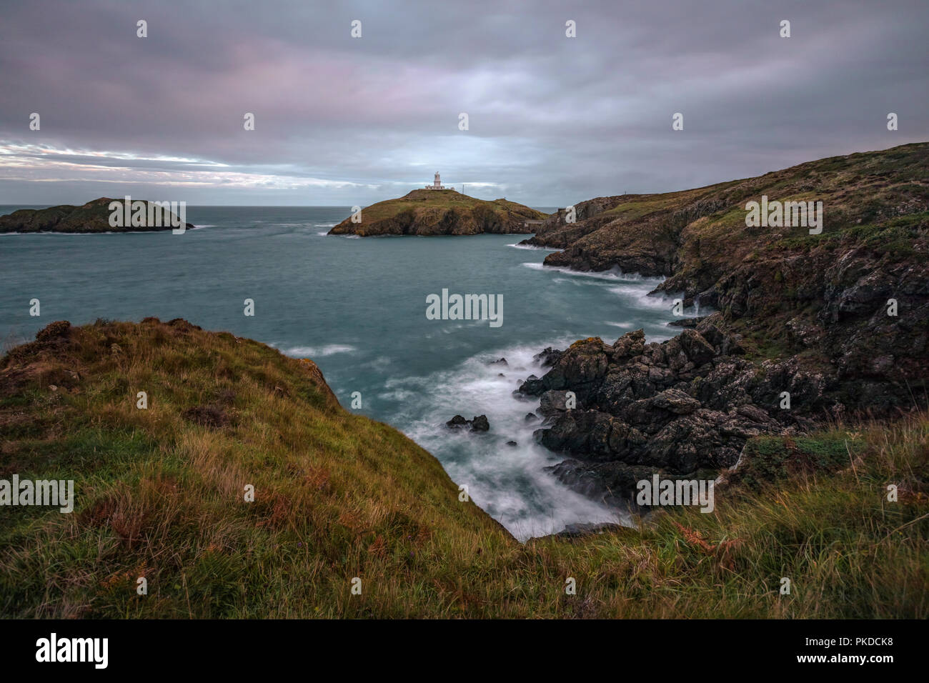 Strumble Head Lighthouse, Fishguard, Pembrokeshire, Wales, UK, Europe - Stock Image