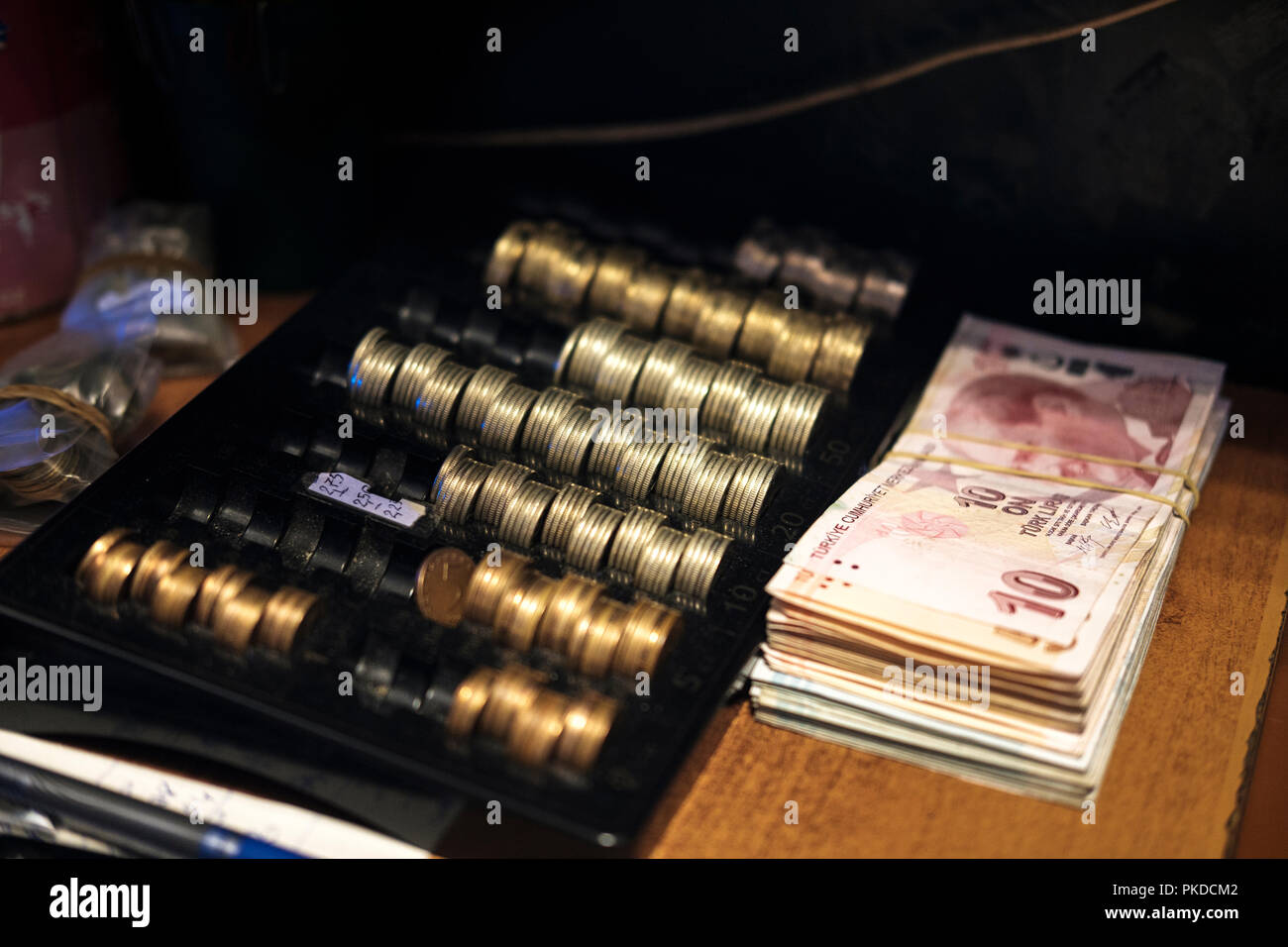 Pile of cah and coins- Bulgarian lev, - Stock Image