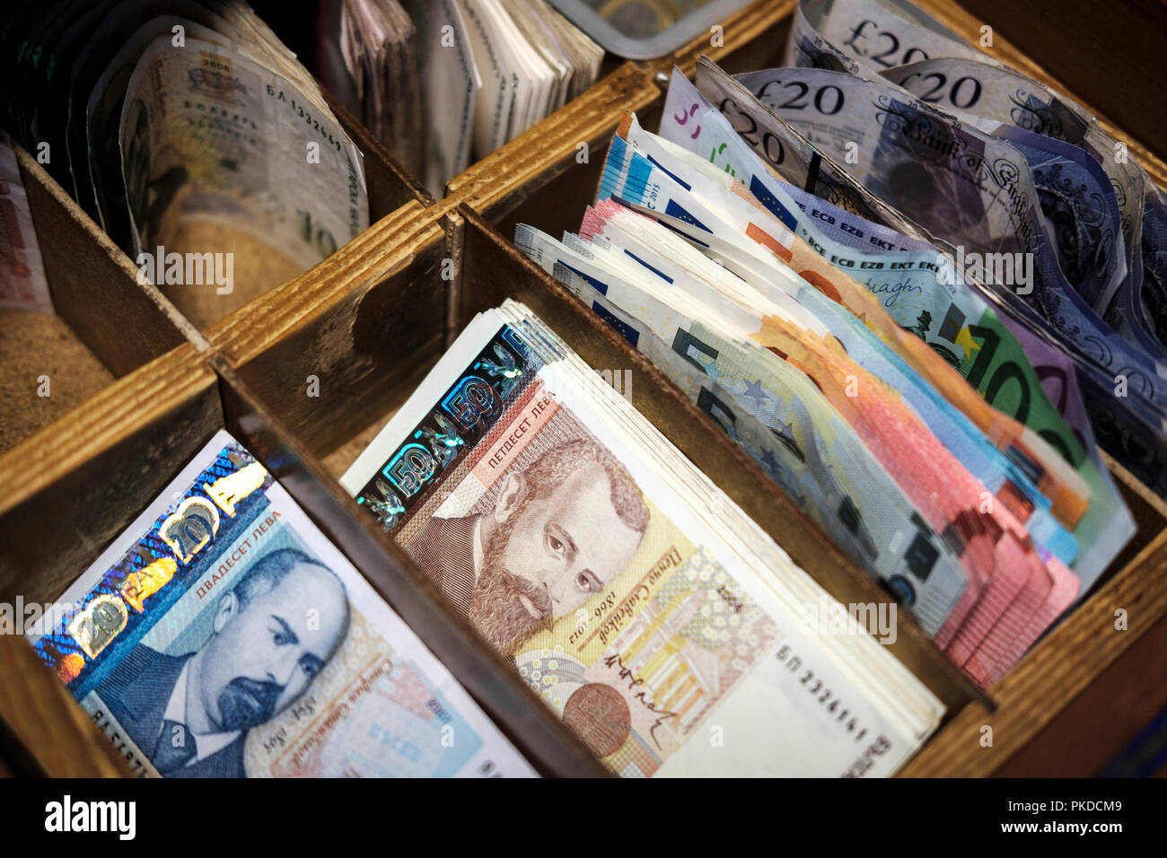 Varied european currencies-bulgarian lev,euros and UK pound sterling - Stock Image