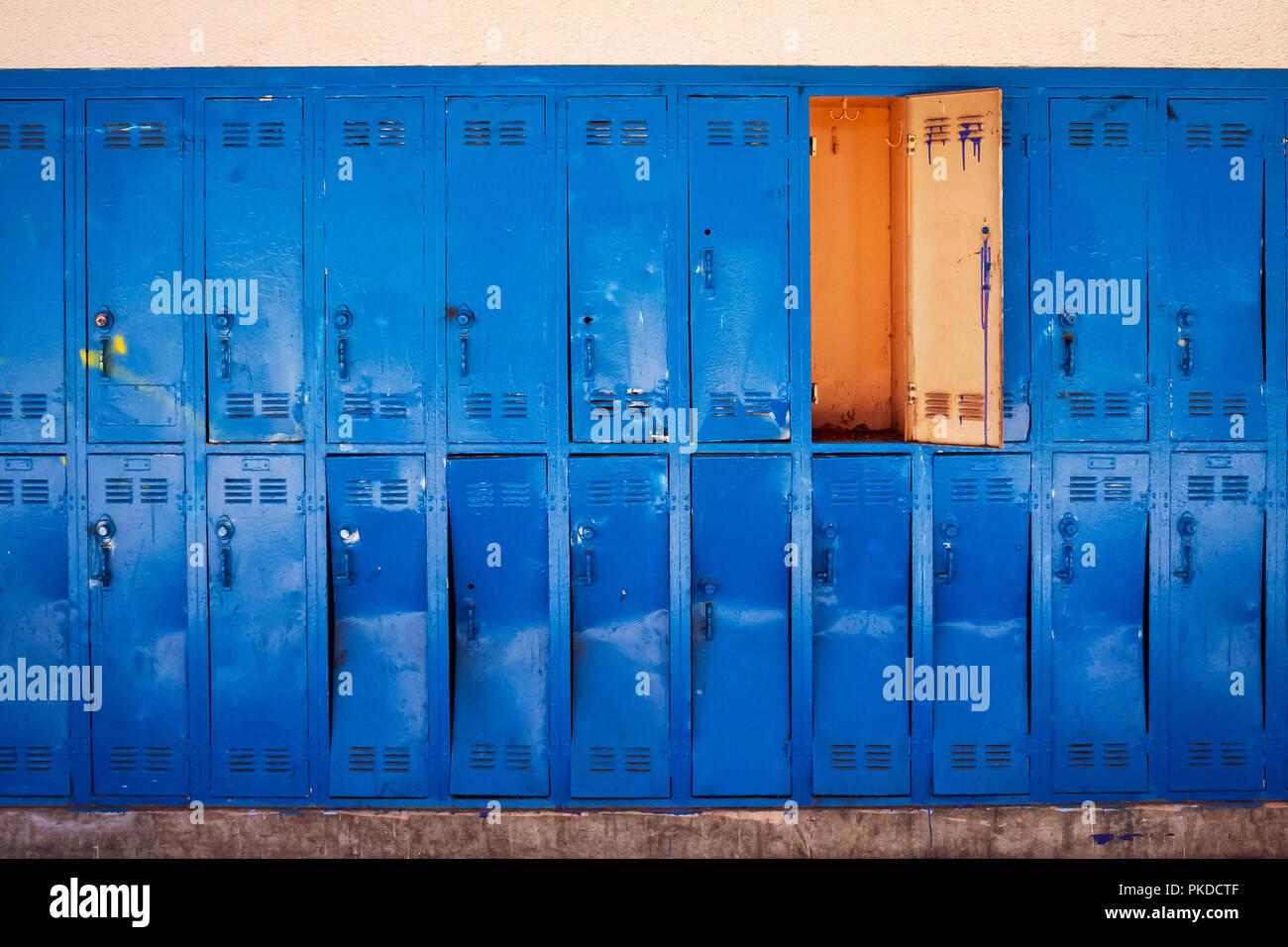 Old Blue Lockers With Door Open