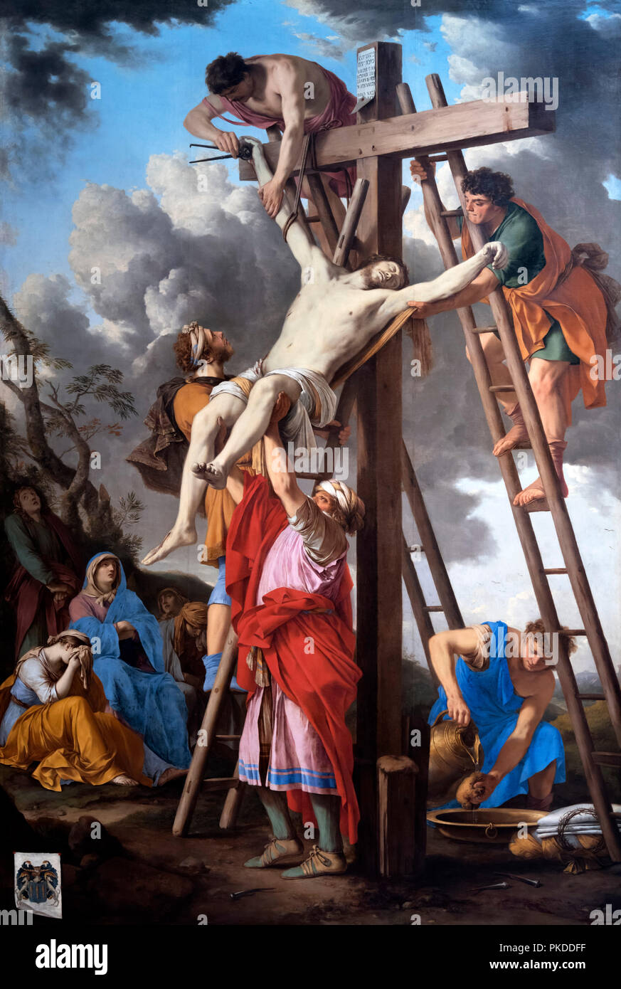 Descent from the Cross (The Deposition) by Laurent de la Hyre  (1606-1656), oil on canvas, c.1655 - Stock Image