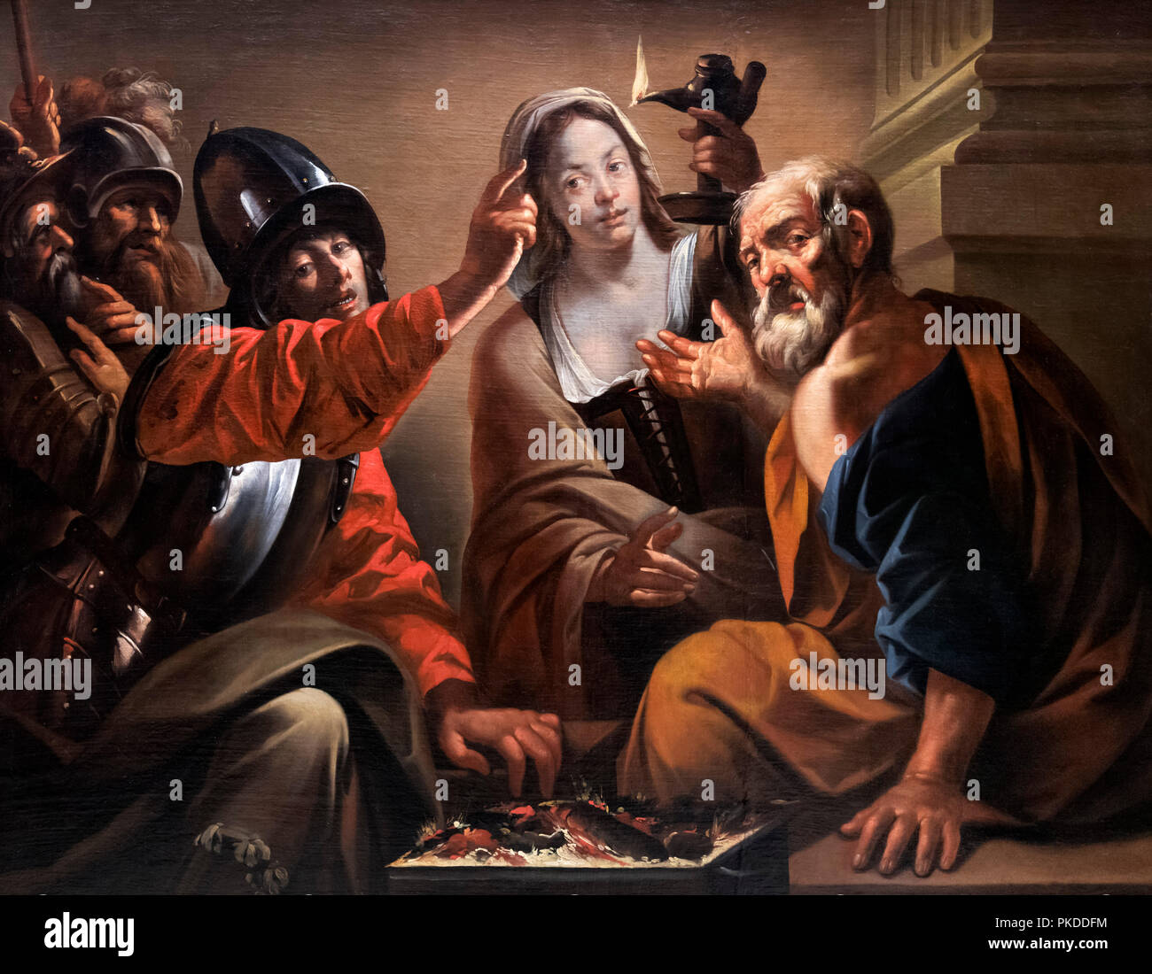 The Denial of St Peter by Pietro Paolini (1603-1681) - Stock Image