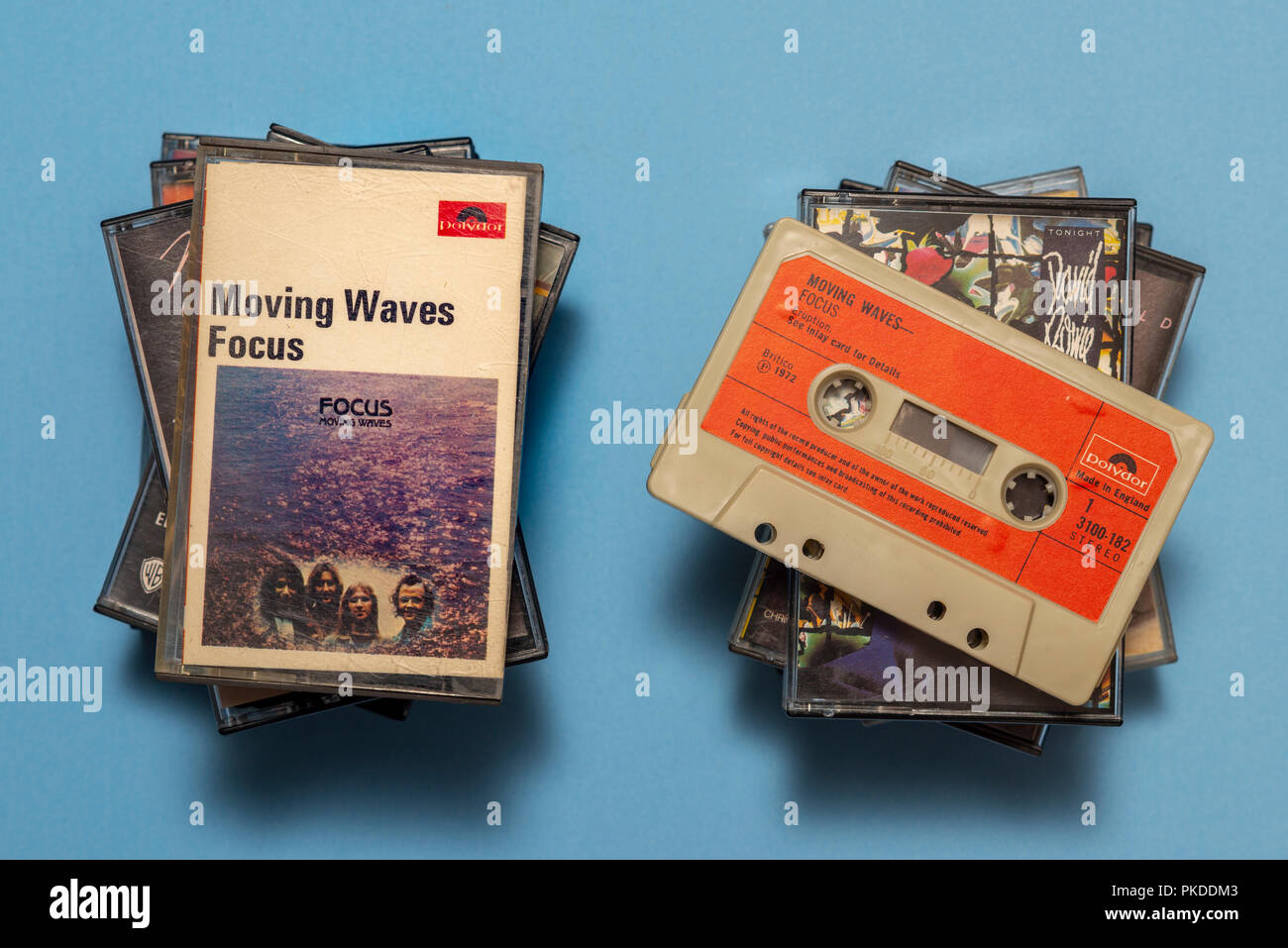 compact audio cassette of Focus, Moving Waves album with art work. - Stock Image