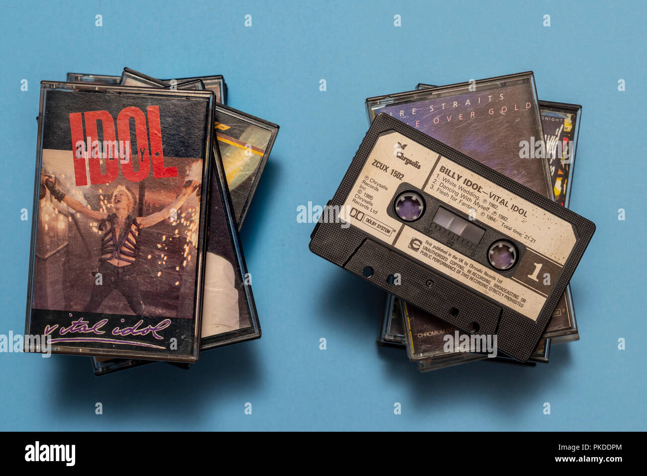 compact audio cassette of Billy Idol, Vital Idol album with art work. - Stock Image