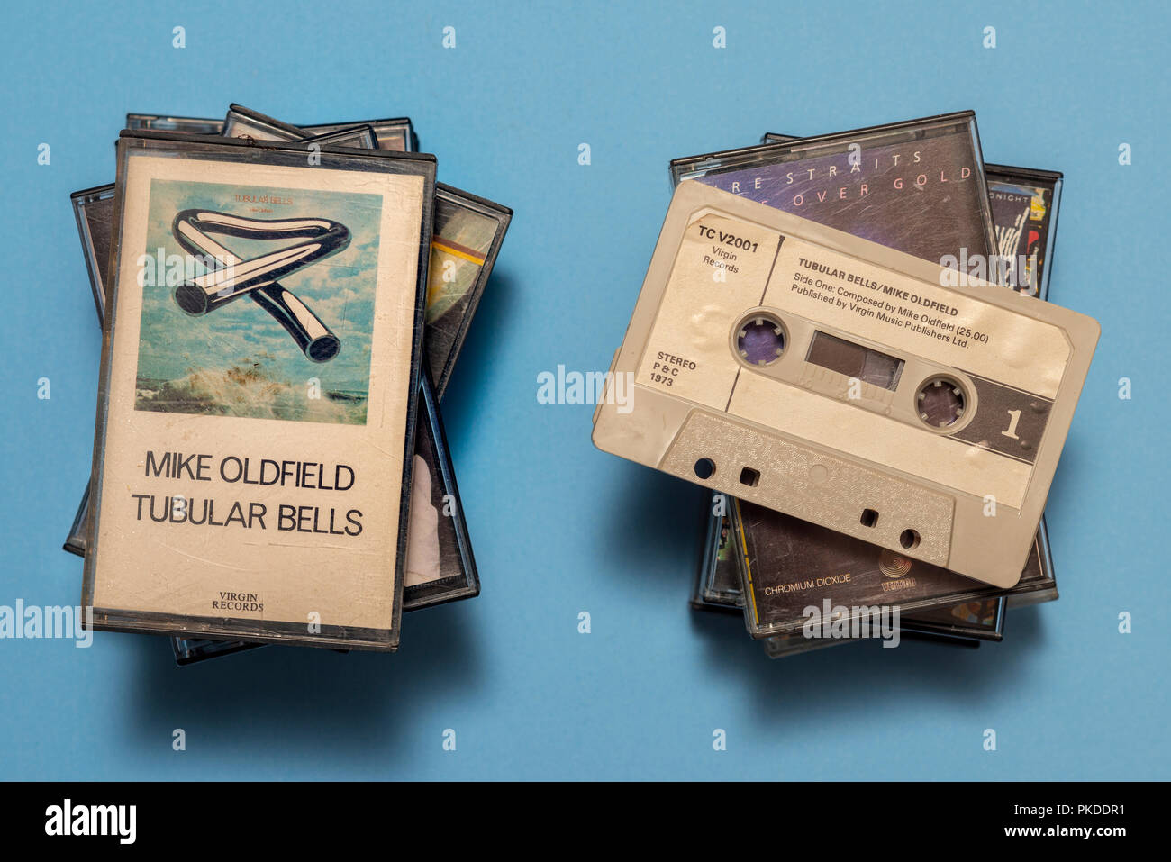 compact audio cassette of Mike Oldfield, Tubular Bells album with art work. - Stock Image