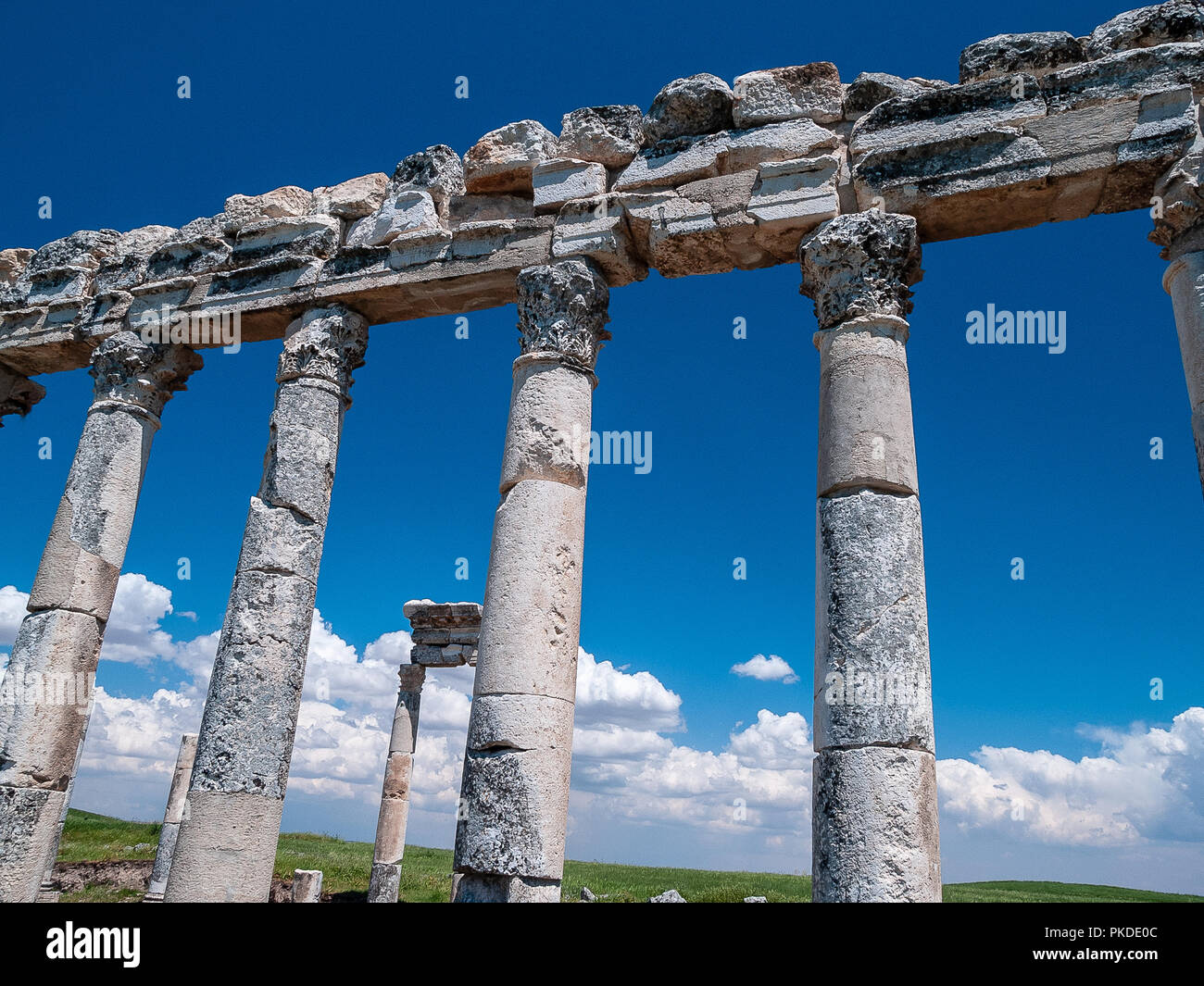 Apamea (also known as Afamia), the ancient Greek and Roman city. The site is located near Qalaat al-Madiq, about 60 km to the northwest of Hama, Syria - Stock Image