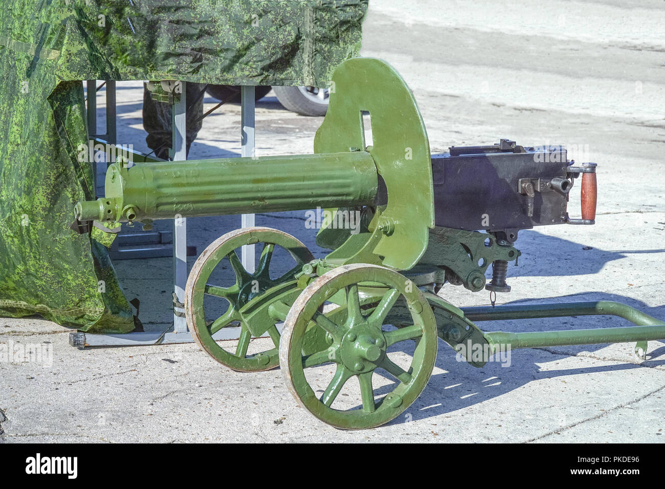 Machine gun green color Maxim system - Stock Image