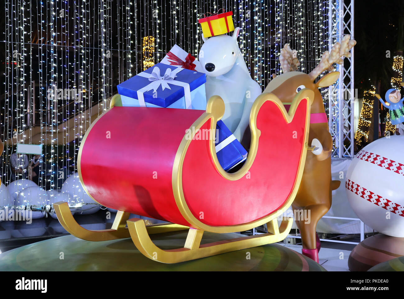 Funny Outdoor Christmas Decorations Of A Reindeer Pushing Sleigh