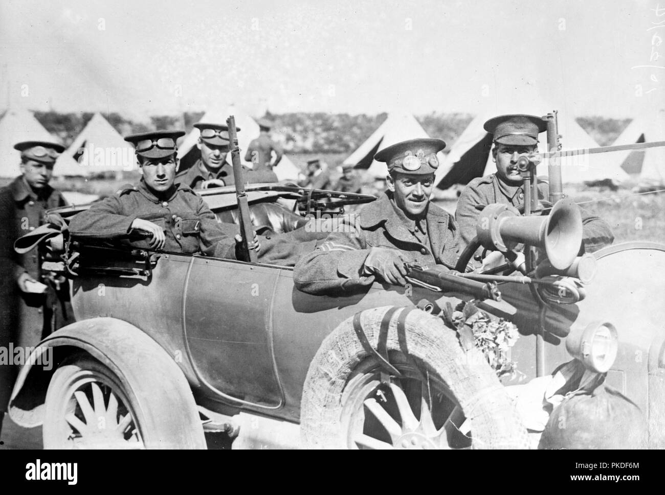 English Motor scouts in France, English soldiers during World War I. - Stock Image