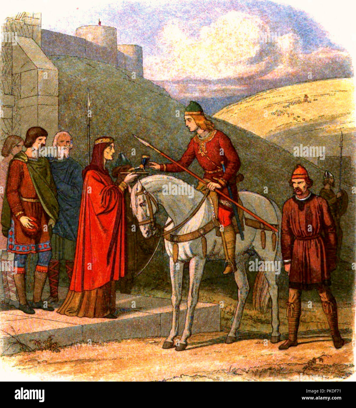 Edward the Martyr is offered a cup of mead by Ælfthryth, widow of the late Edgar, unaware that her attendant is about to murder him. Edward the Martyr (962 – 978) King of England from 975 until he was murdered in 978. Illustration by James William Edmund Doyle - Stock Image