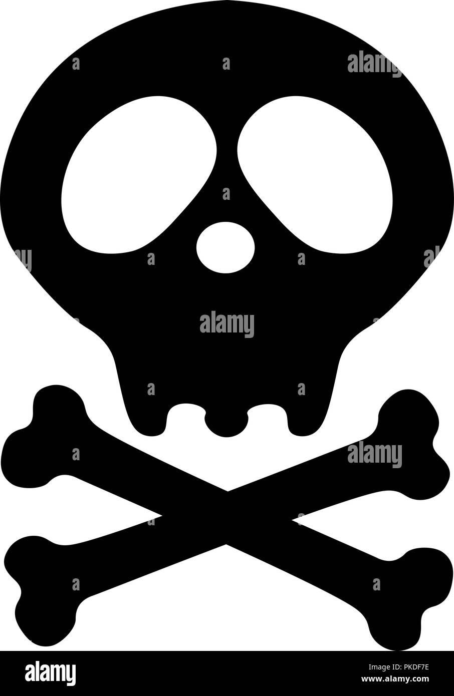 Pirate Flag Death Skull Crossbones Danger Or Poison Flat Icon