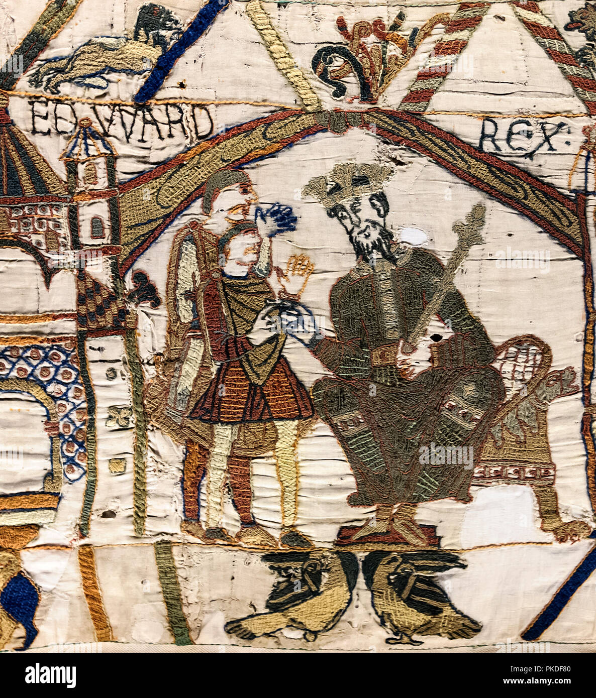 Bayeux Tapestry, King Edward the Confessor and Harold Godwinson at Winchester - Stock Image