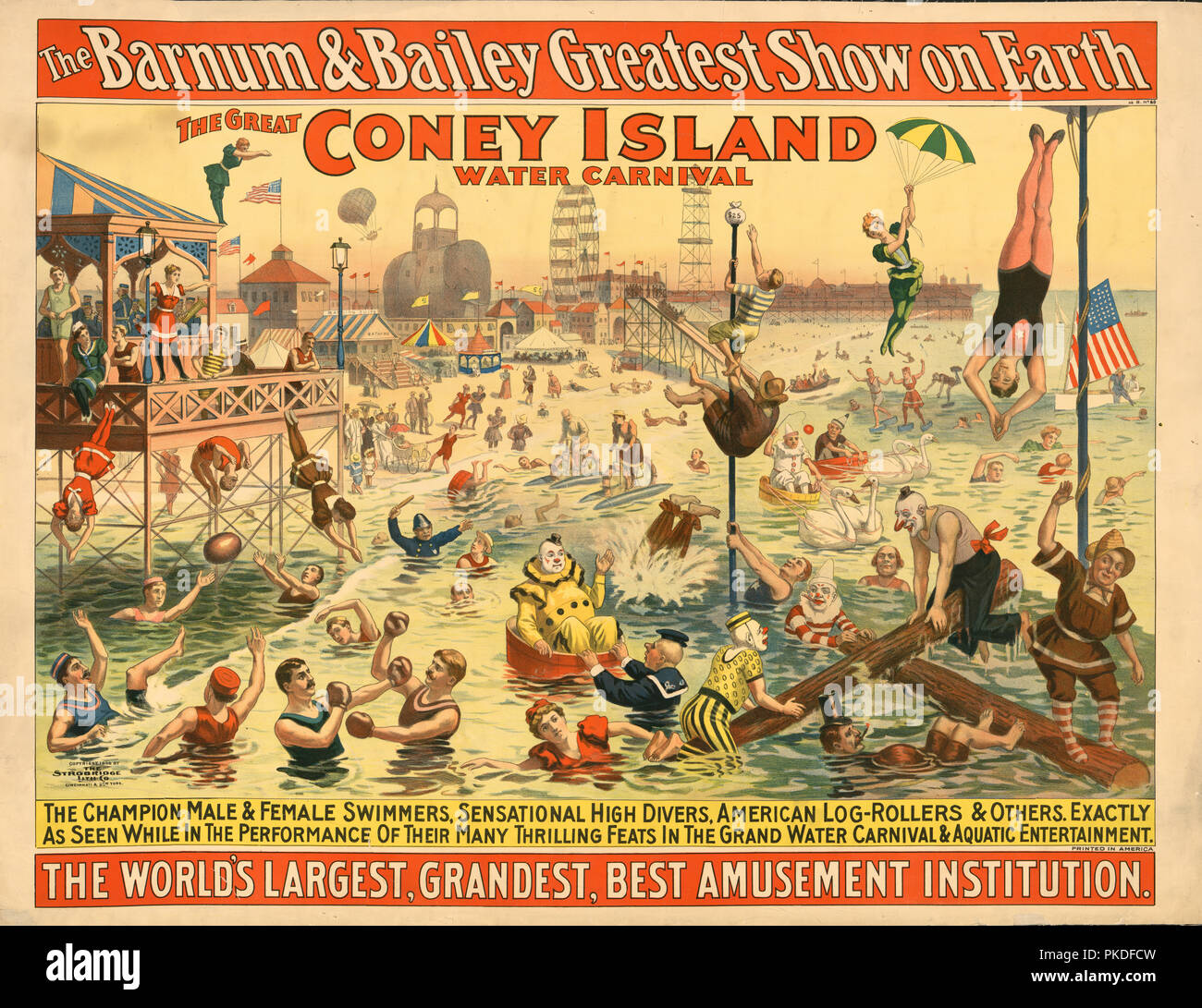 The Barnum & Bailey Greatest Show on Earth The Great Coney Island Water Carnival. Poster shows people in costumes, including clowns, performing at the beach. Stock Photo
