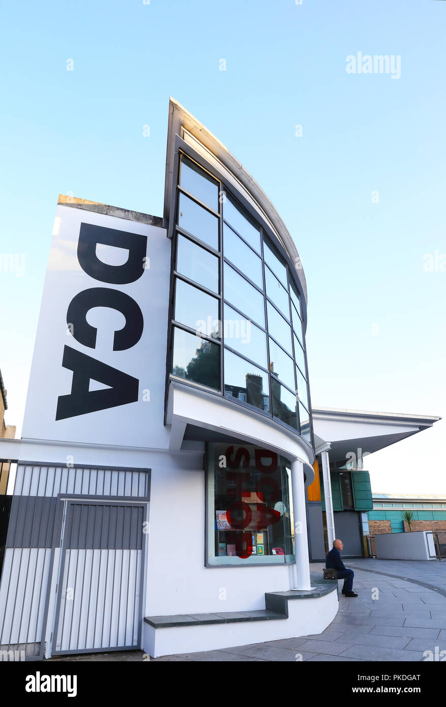 Popular Dundee Contemporary Arts centre with art galleries, a cinema and the Jute cafe, in Nethergate, on Tayside, in Scotland, UK - Stock Image