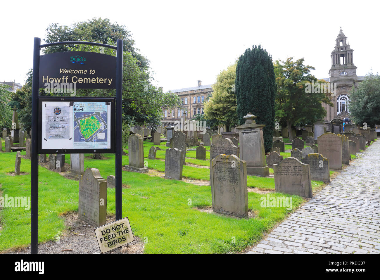 The Howff Cemetery - the gardens of Grey Friars Monastery granted to the town as place of burial by Mary Queen of Scots in 1564, in Dundee, UK - Stock Image