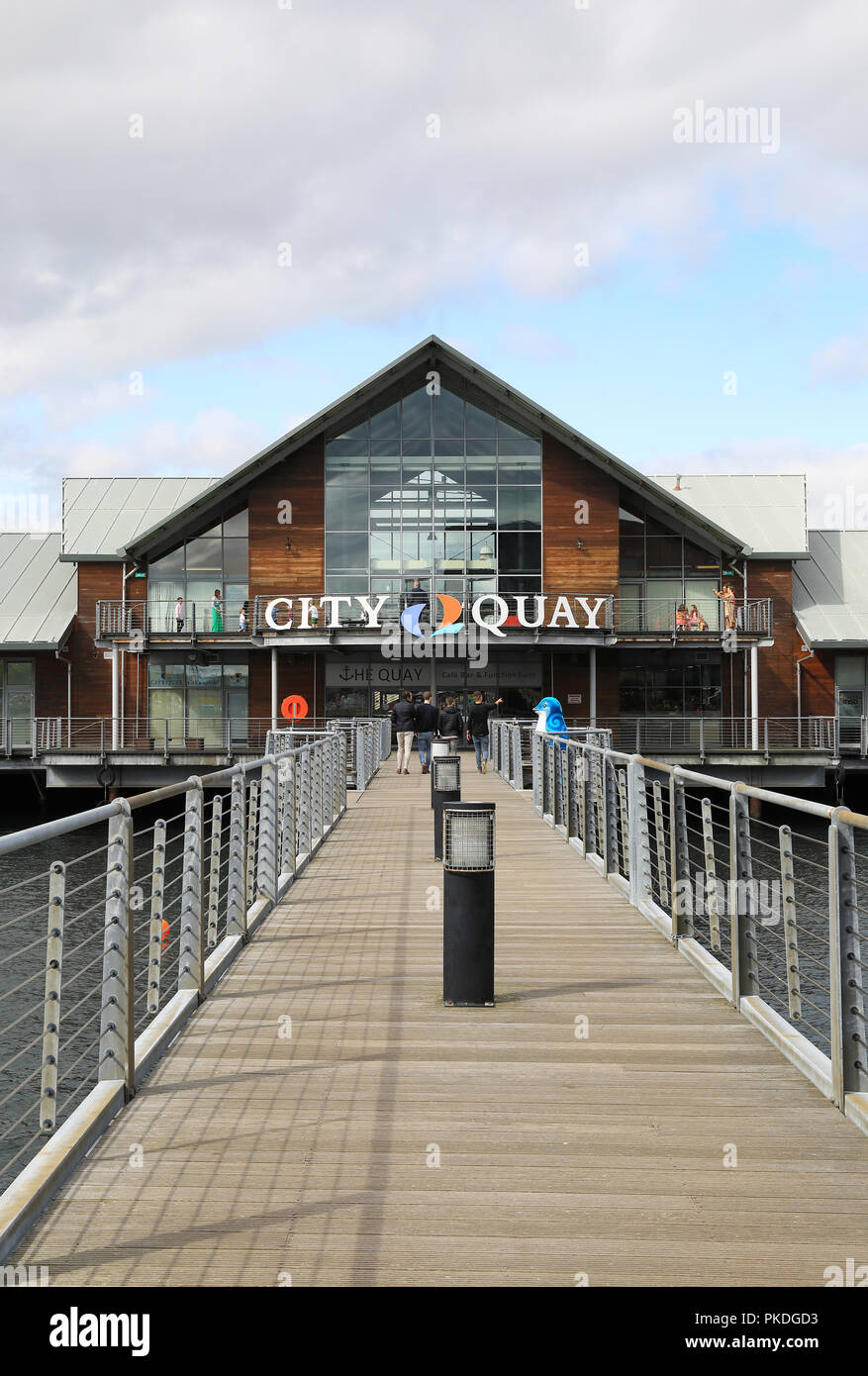 The City Quay redevelopment, on Victoria Dock, in Dundee, on Tayside, in Scotland, UK - Stock Image