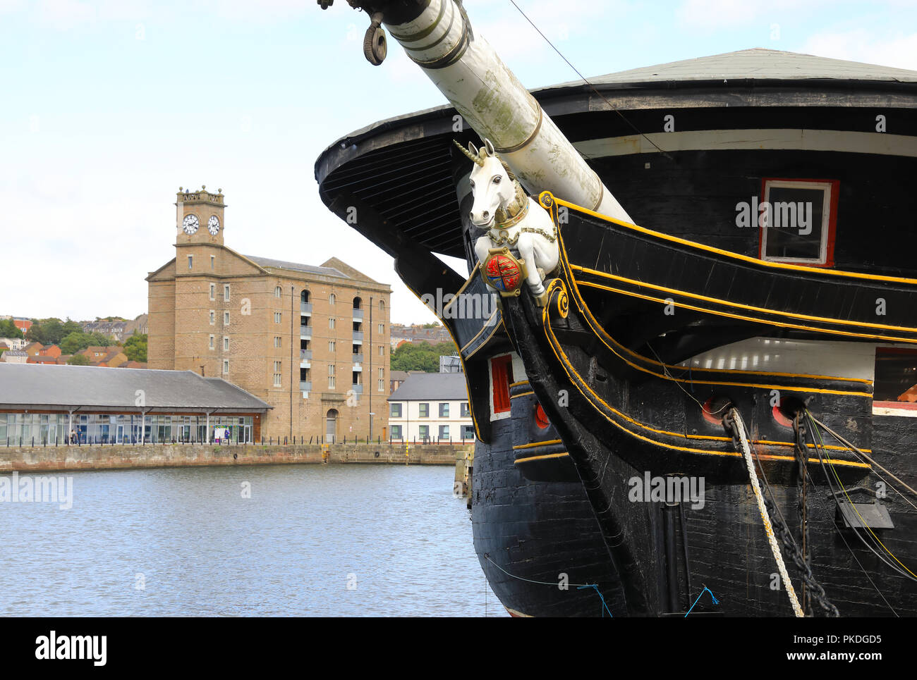 HMS Unicorn on Victoria Dock in the city of Dundee, used as a marina and part of the City Quay redevelopment, on Tayside, in Scotland, UK - Stock Image