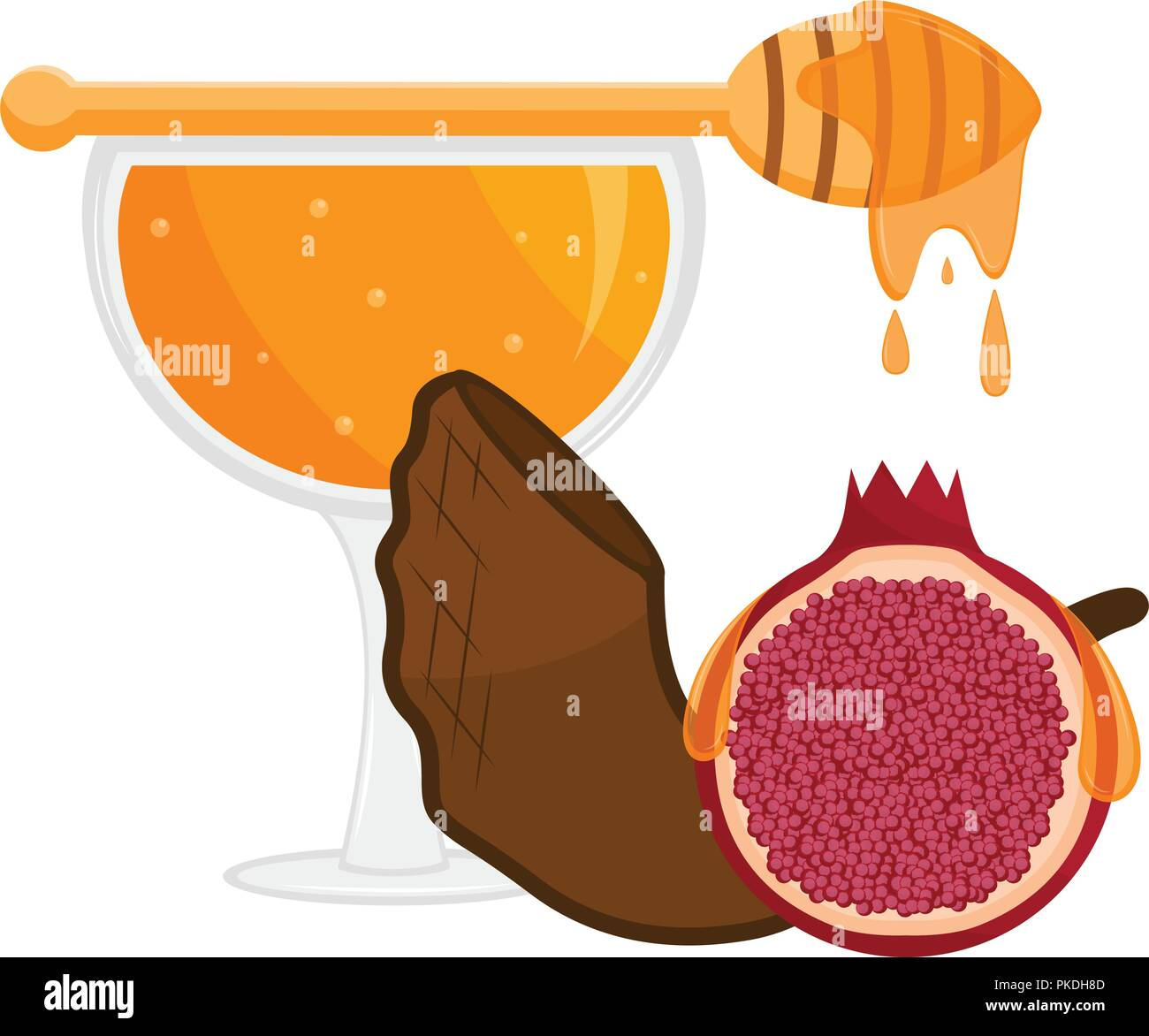 Honey glass with a shofar and a pomegranate rosh hashanah vector illustration design