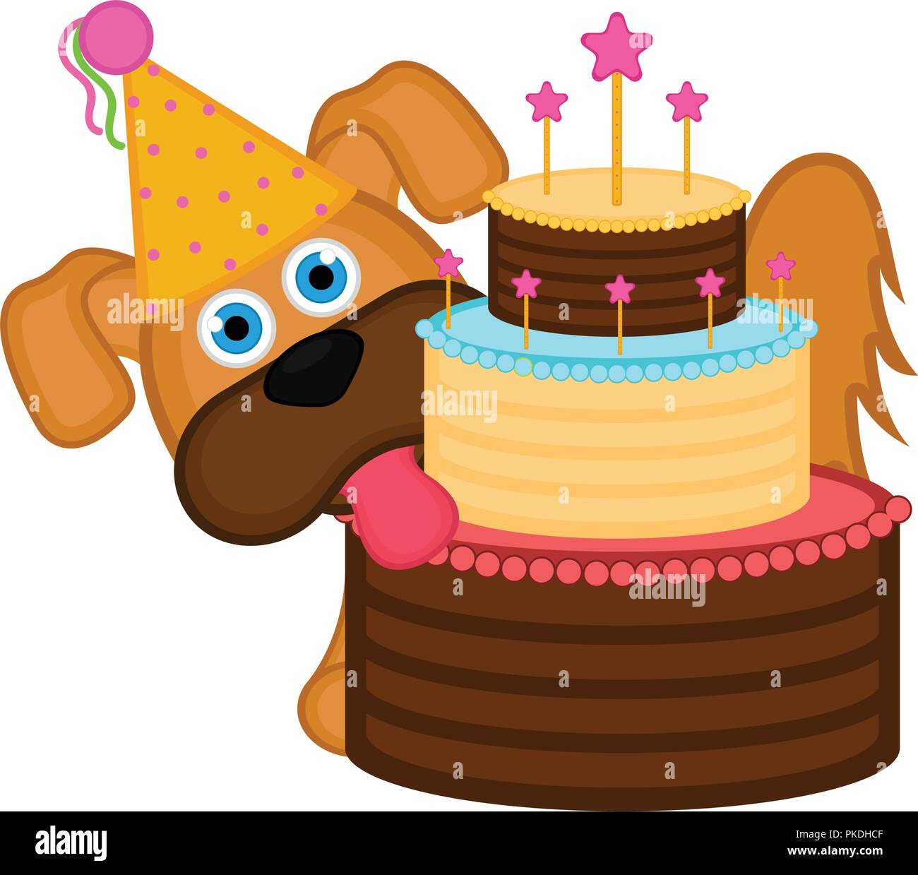 Cute Dog With A Party Hat And A Cake Happy Birthday Vector