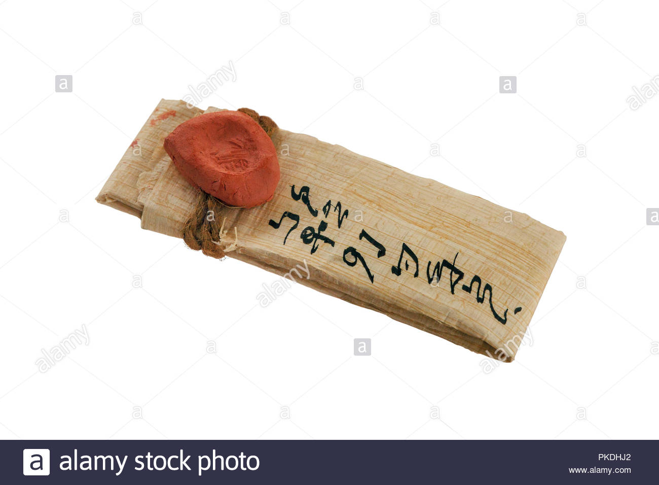 Ancient Hebrew Replica Letter, Document with a Clay Seal Made by a Signet Ring - Stock Image