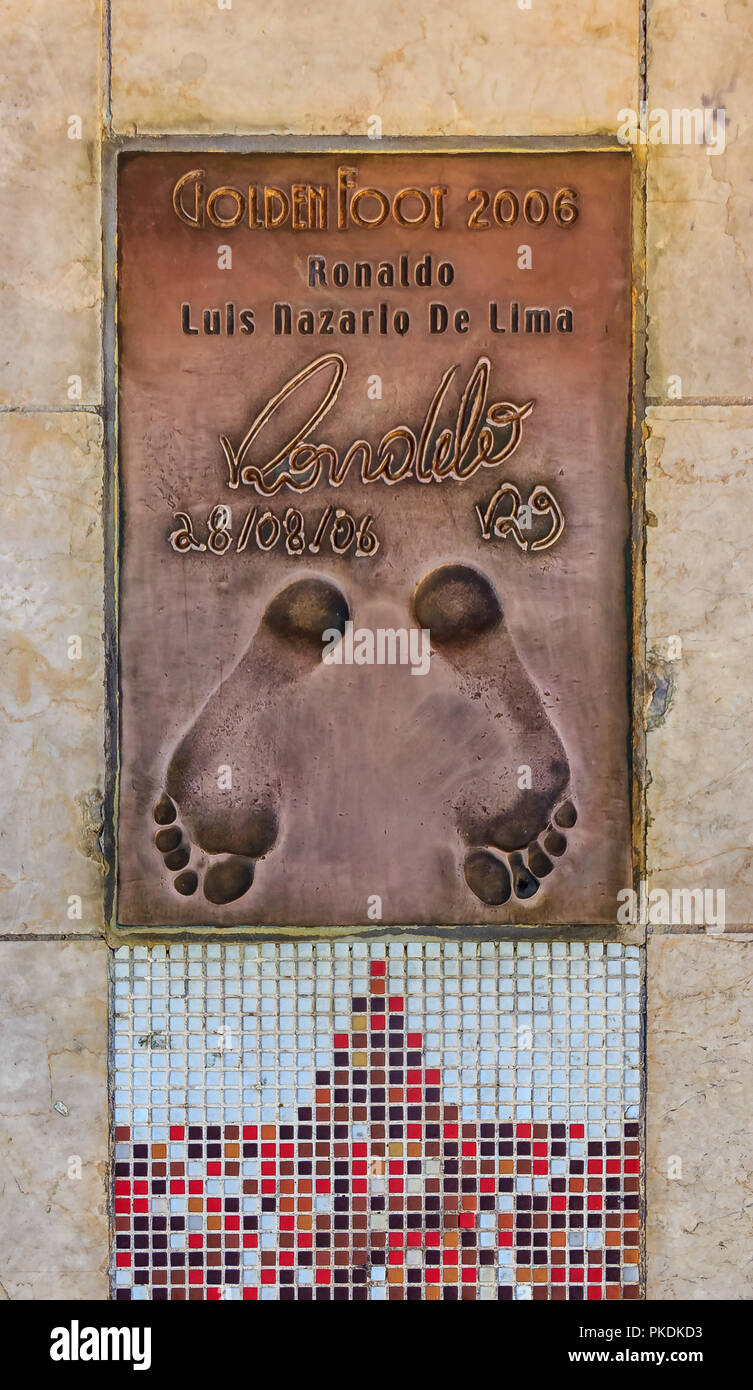 Monte Carlo, Monaco - October 14, 2013: Footprint of legendary footballer Ronaldo Luis Nazario da Lima, winner of the international Golden Foot award  - Stock Image