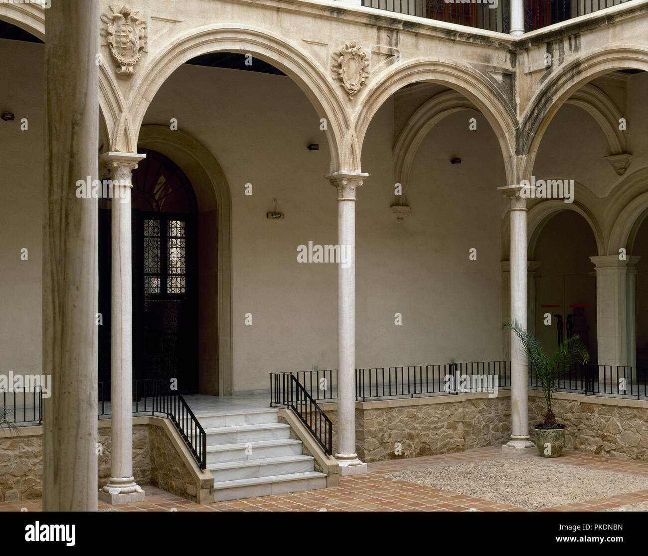 Spain. Murcia. San Esteban Palace. The architectonic complex was built as a college of the Company of Jesus, 1555-1569. Courtyard. - Stock Image