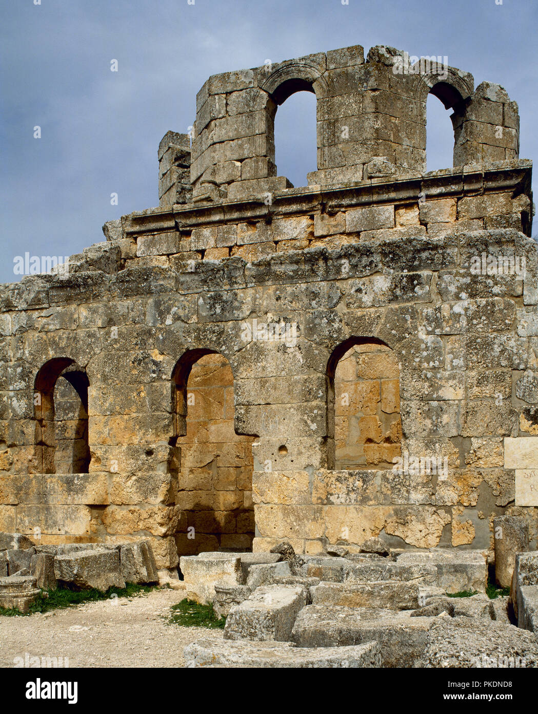 Church of Saint Simeon Stylites. It was built on the site of the pillar of St. Simeon Stylites. Byzantine style. The baptistry. Mount Simeon. Aleppo. Syria. Historical photography (before the Syrian Civil War). - Stock Image