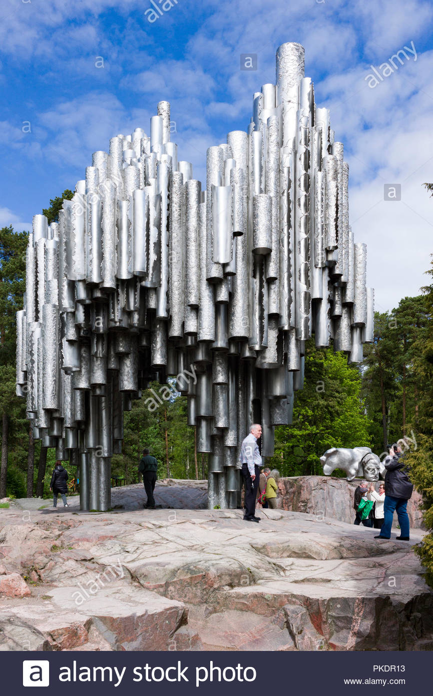 The Sibelius Monument, Helsinki, Finland in memorial to the composer Jan Sibelius (1865-1957) Made by sculptor Eila Hiltunen in was unveiled in 1967. Stock Photo