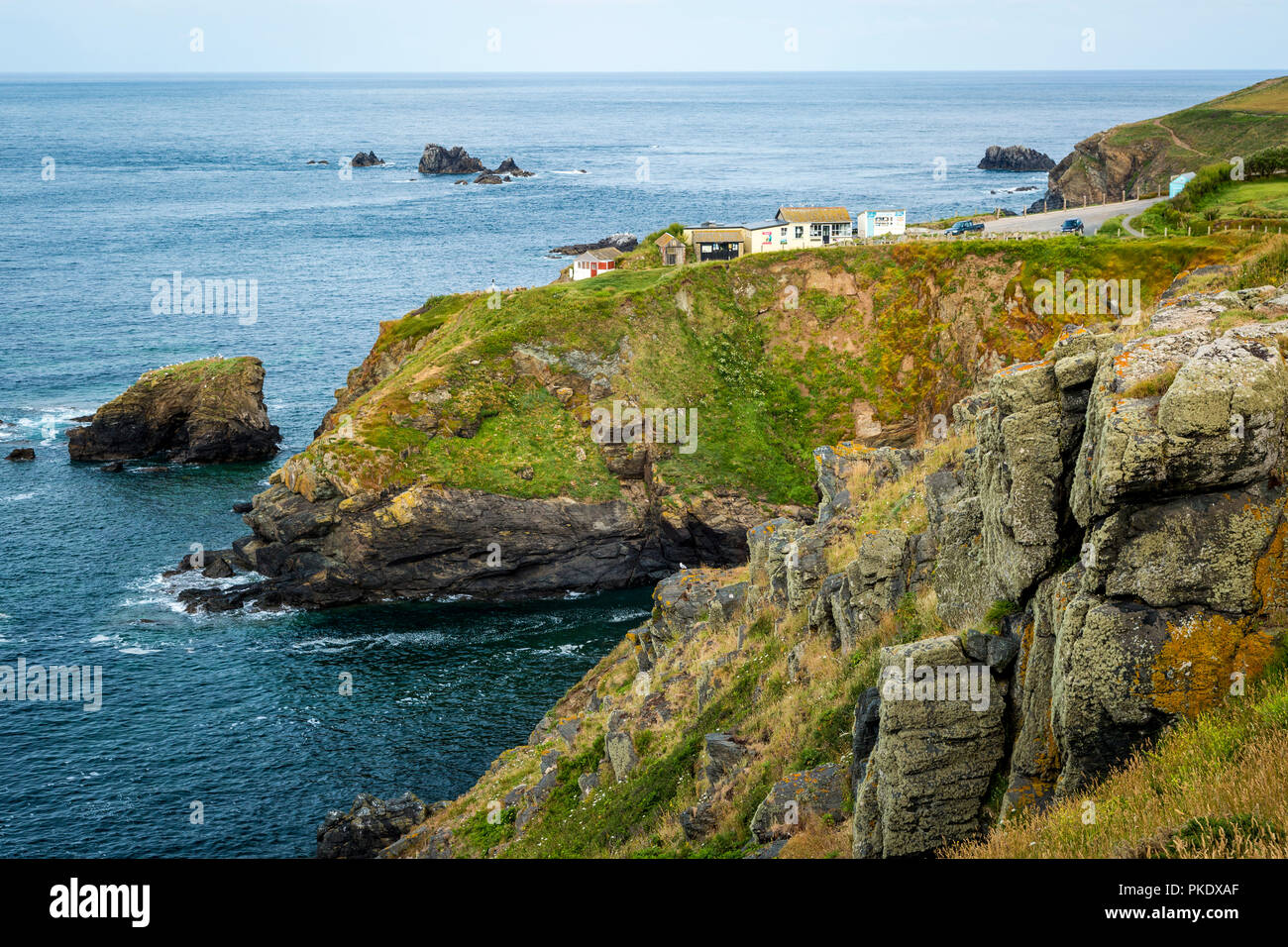 Lizard Point (the most southerly point in mainland Britain), Helston, Cornwall, England - Stock Image