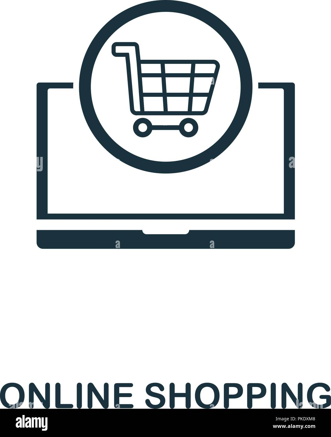 Online Shopping icon  Monochrome style design from e