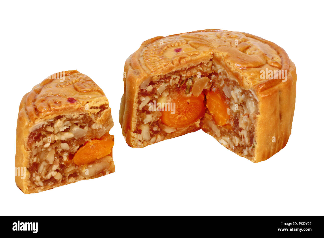 Isoleted of Mooncake filling five seed and double salt eggs on white background. - Stock Image