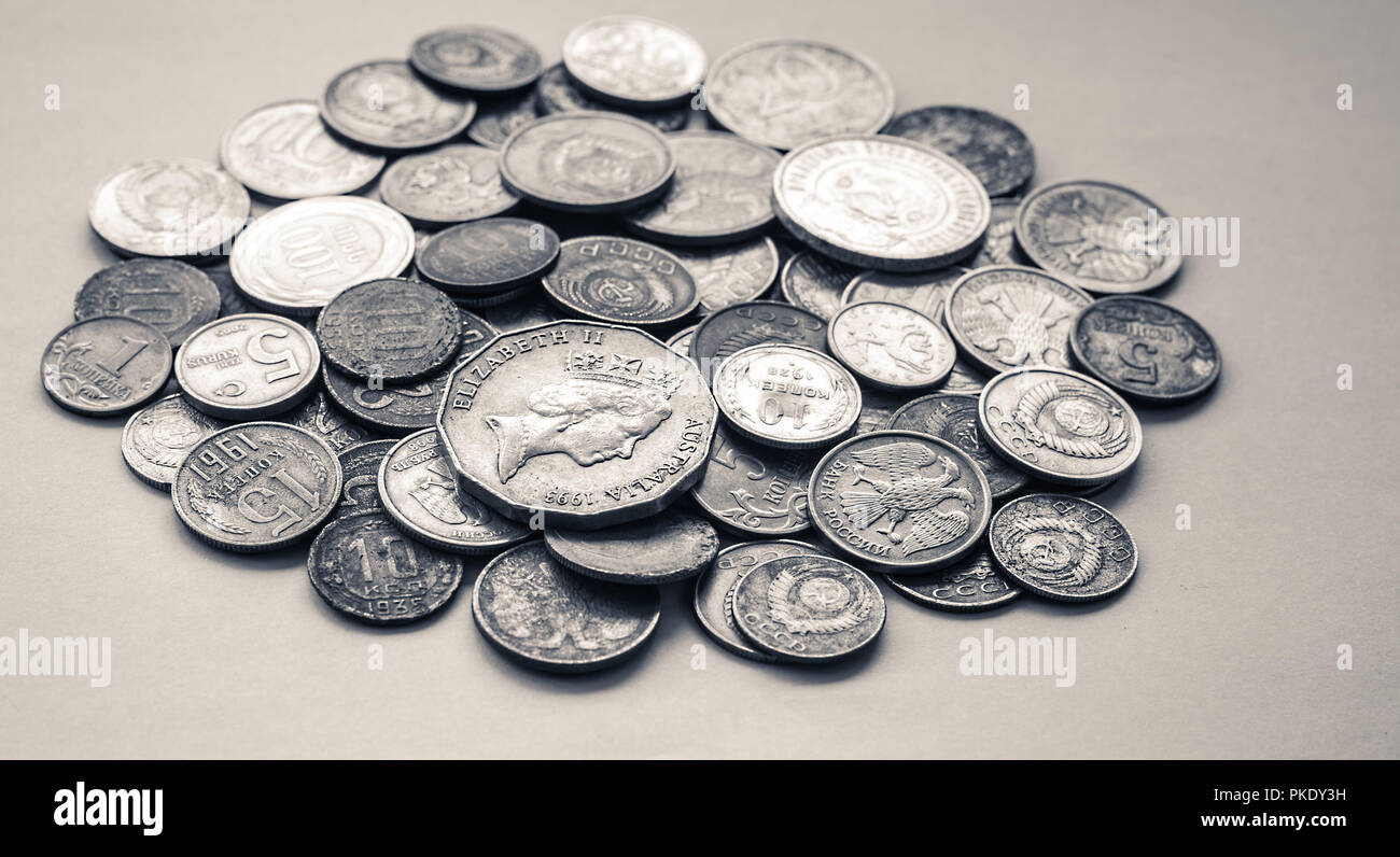 silver coins of different countries and times Stock Photo
