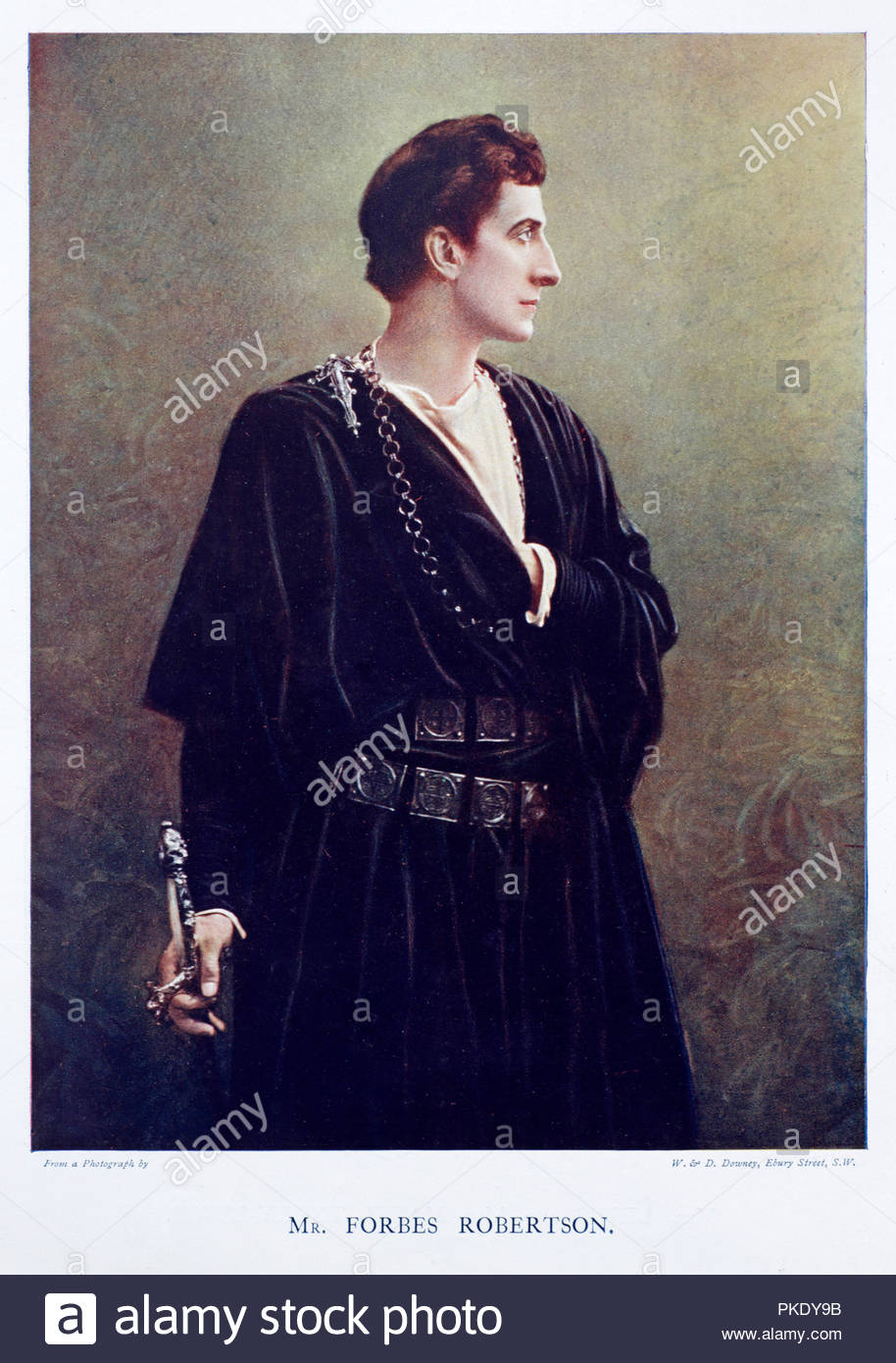 Forbes Robertson portrait, 1853 – 1937, was an English actor and theatre manager. He was considered the finest Hamlet of the Victorian era and one of the finest actors of his time. Colour illustration from 1899. - Stock Image