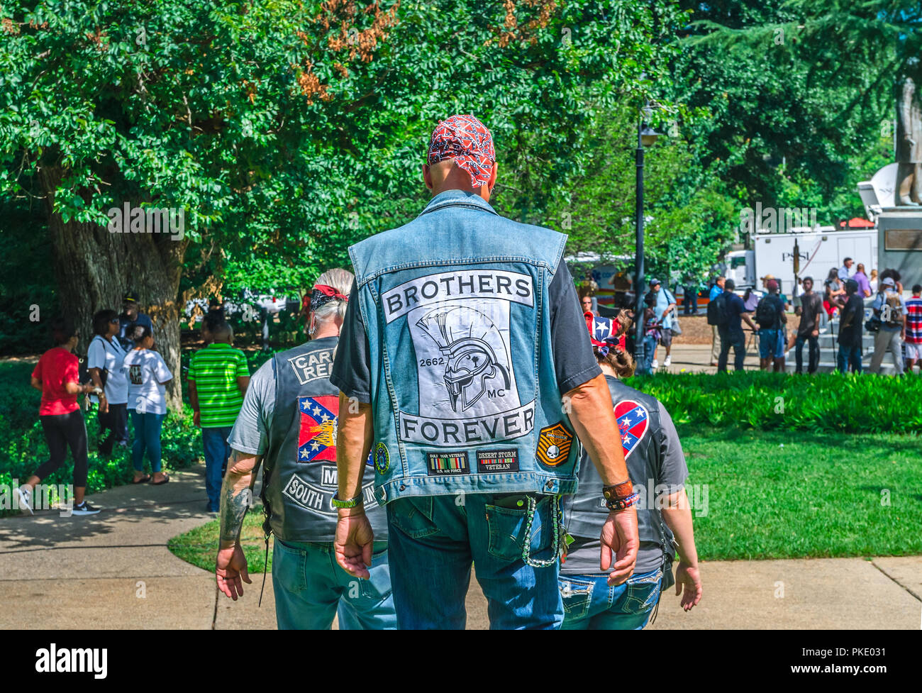 Carolina Rebels Motorcycle Club leave the South Carolina State House after protesting the Confederate flag's removal, July 10, 2015, in Columbia, S.C. - Stock Image