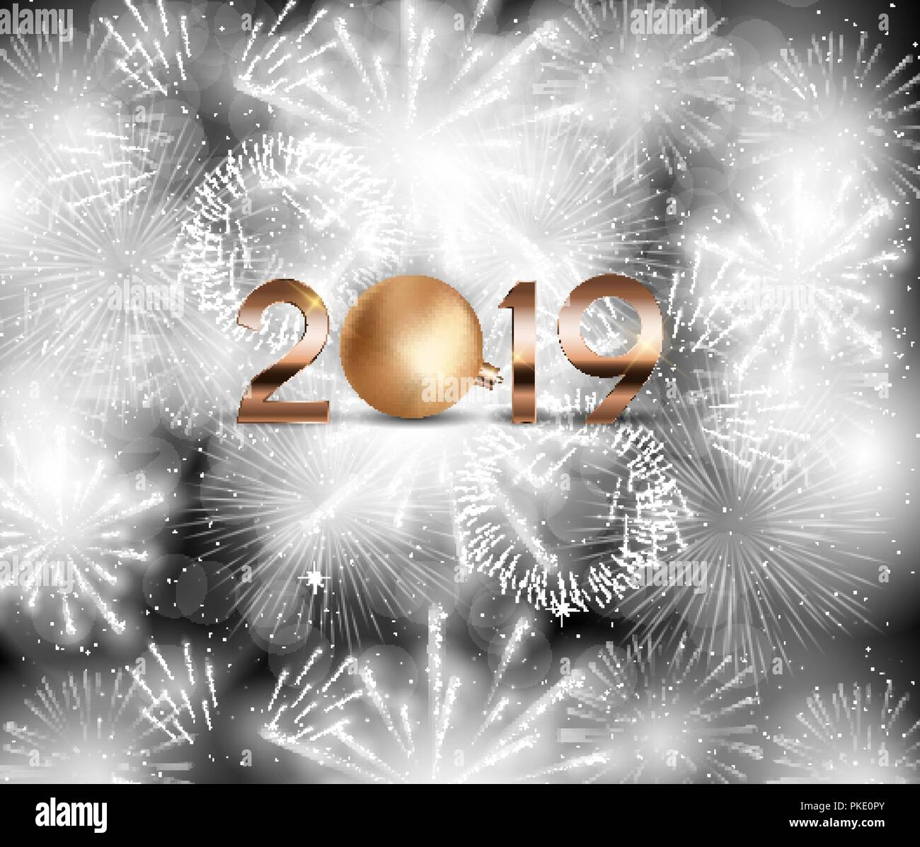 2019 new year background with christmas ball vector illustration