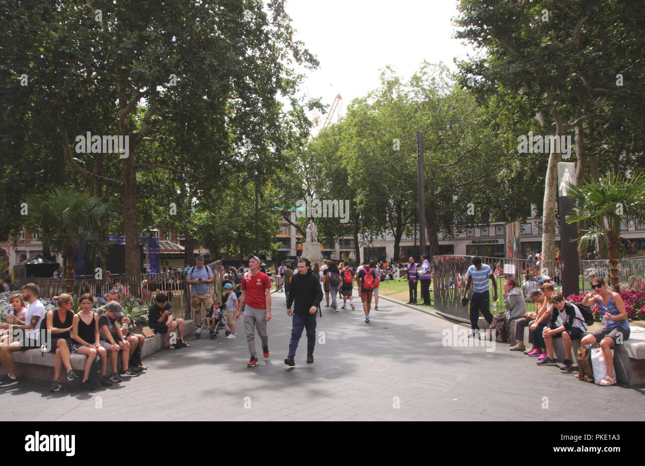 Leicester Square Gardens London summer 2018 Stock Photo