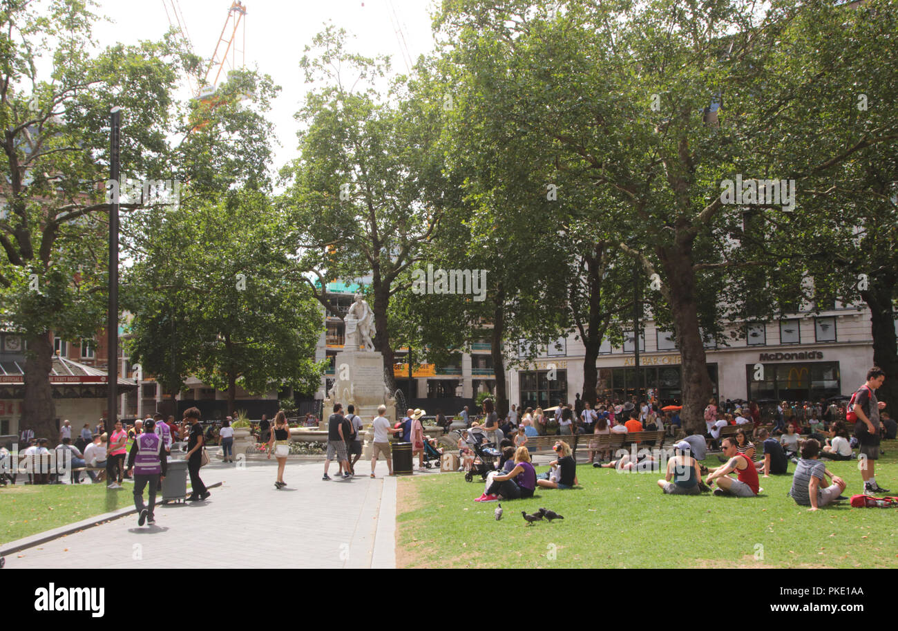 Leicester Square Gardens London summer 2018 - Stock Image