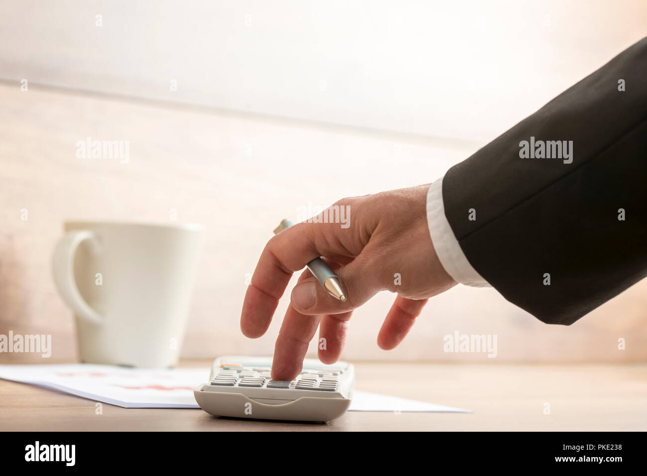 low angle view of businessman or accountant doing a calculation on a rh alamy com Messy Accountant Desk Woman Accountants Desk