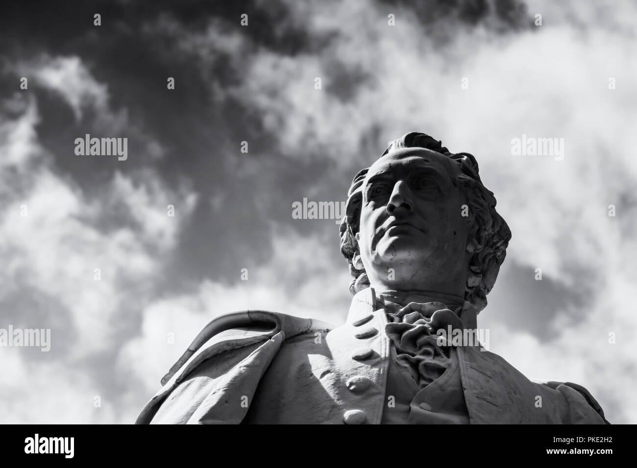 Berlin, Germany, July 24, 2018: Close-Up of Head of German Poet Goethe Statue at Tiergarten Park - Stock Image