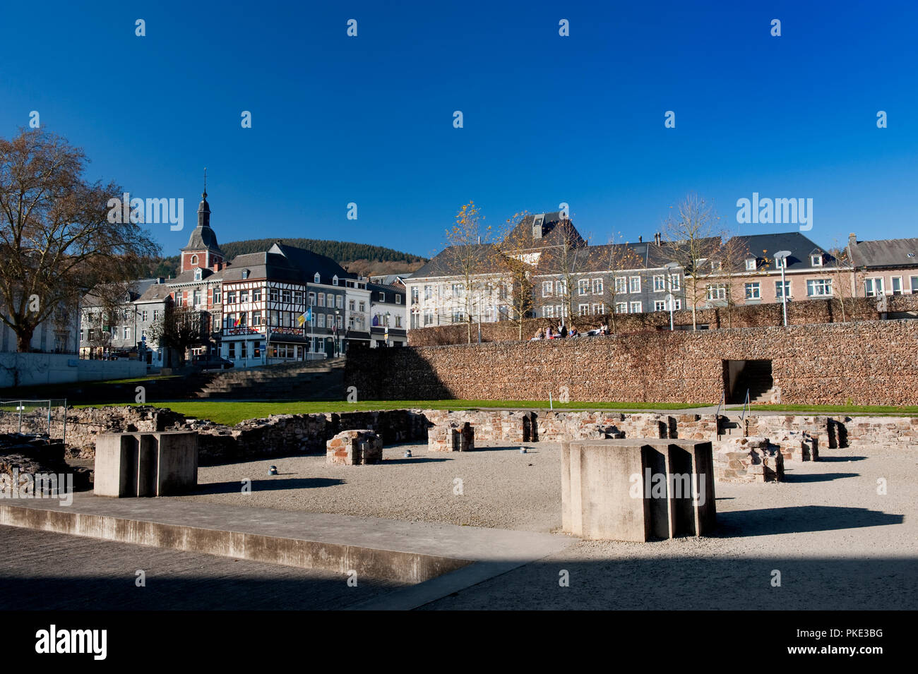 The foundations of the abbey church of the Abbey of the Prince-Bishops of Stavelot in the Eastern Cantons, formerly St. Remacle abbey (Belgium, 15/11/ Stock Photo