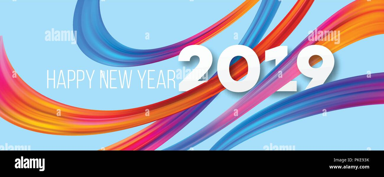 Happy New Year 2019 acrylic banner design Stock Vector Art