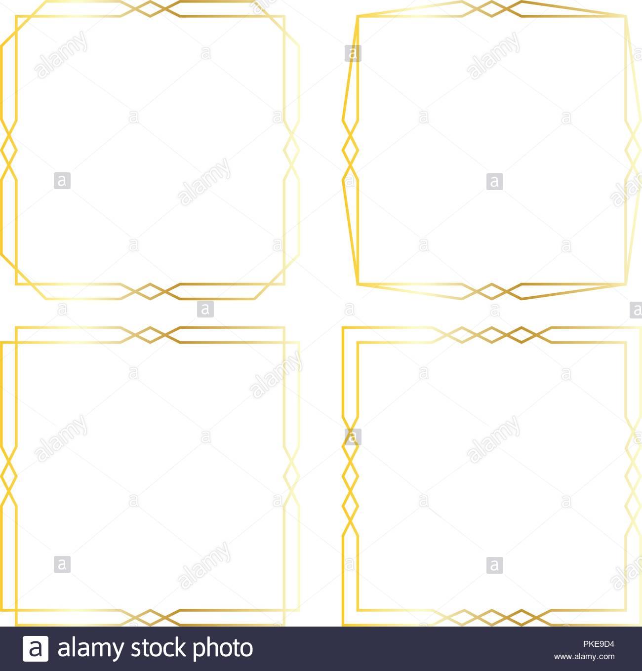 gold art deco vector square frames Stock Vector Art & Illustration ...