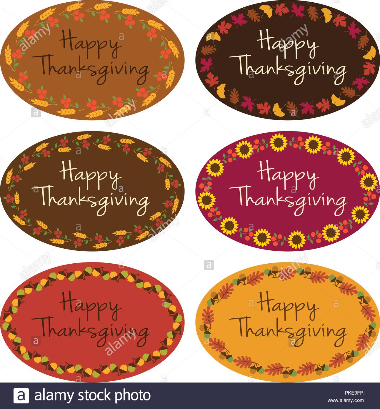 happy thanksgiving vector oval labels with border patterns stock